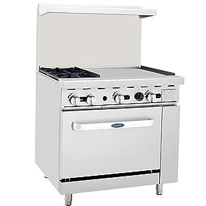 """CookRite ATO-2B24G Commercial Restaurant 24"""" Manual Griddle 2 Burner Hotplates Natural Gas Range Cooks Standard Oven 36"""" - 125,000 BTU"""