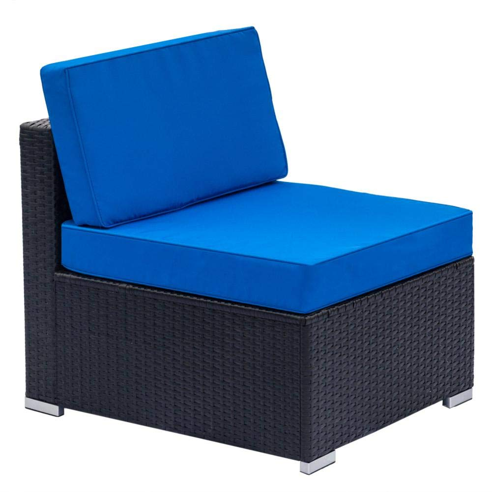 dalilylime Fully Equipped Woven Rattan Blue and Black Sofa Set It has 2  Corner Sofas and 4 Single Sofas and a Coffee Table.