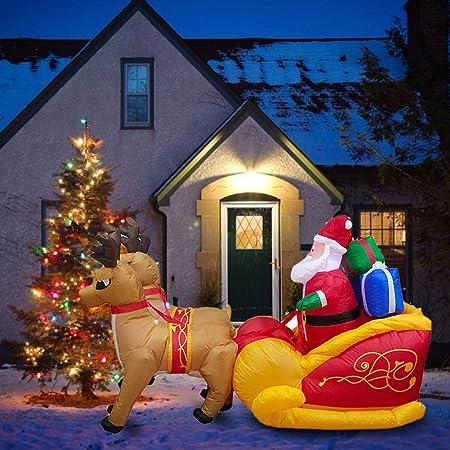 pegtopone Papá Noel Hinchable con Trineo Papá Noel Reno Navidad Santa Claus decoración, iluminación LED, muñeco de Papá Noel, jardín de Navidad ...