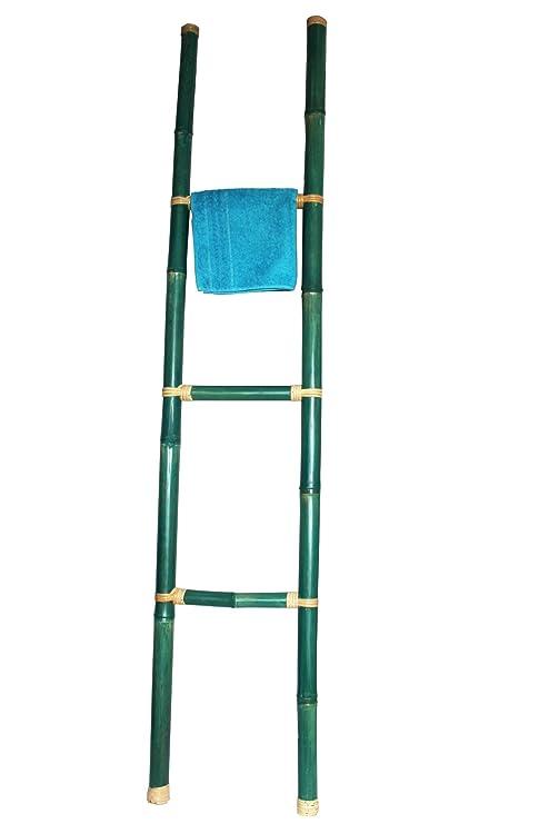 Color CO decorativa toallero, bambú escalera azul, turquesa ...
