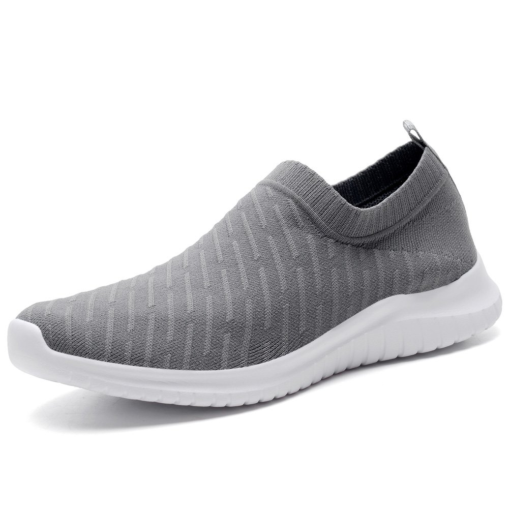 KONHILL Men's Casual Walking Shoes - Knit Breathable Tennis Athletic Running Sneakers Shoes B079Q91PY7 4 D(M) US|2108 D.gray