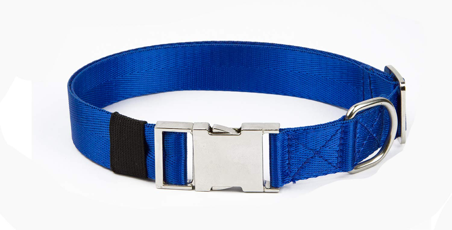 bluee Large Neck 18\ bluee Large Neck 18\ Puppy Face Durable Dog Collar Metal Buckle,Nylon Collars Dogs (Large Neck 18 -26  Width 1 , bluee)