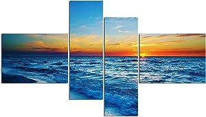 "Water Art Canvas Painting Framed Modern Wall Art Picture Landscape Ocean Seascape Ocean Sunset Sky Home Decor Living Room (48""W x 28""H (16""x12"" x2pcs, 8""x24"" x2pcs) Framed, Blue Orange)"