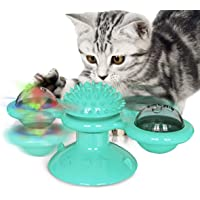 Windmill Cat Toy with Led Ball and Catnip Ball, Interactive Cat Rotation Toy with Suction Cup,Catnip Toy with Scratch Hair Brush Grooming Tool for Cat (Torquoise)