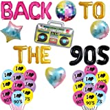 Back to The 90's Balloons Retro Radio 90s Party Banner Throwback 90's/Funny 1990's/I Love 90s/Rock Punk Music Dance…