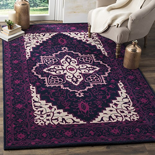 Safavieh Bellagio Collection BLG597A Purple and Ivory Premium Wool Area Rug (8' x 10')