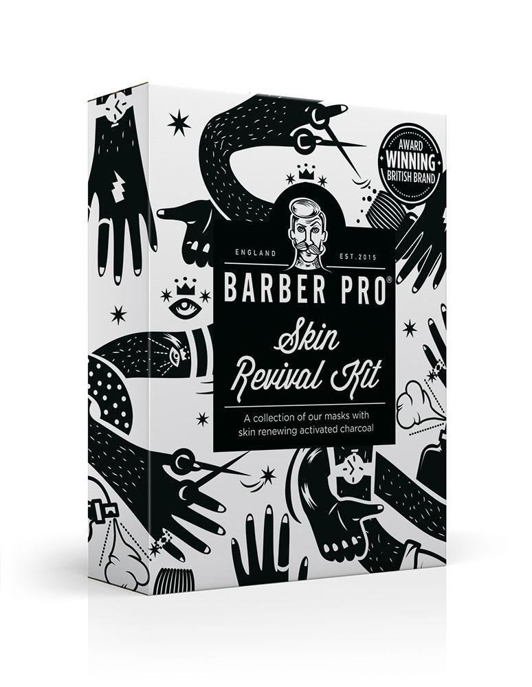 BARBER PRO Skin Revival Kit, Gentlemen's Sheet Mask, Under Eye Mask, Foaming Mask & Face Putty (4 Masks) Gentlemen's Sheet Mask BeautyPro