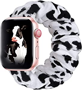 THOUSMOON Scrunchie Elastic Watch Band Compatible for Apple Watch,38mm 40mm / 42mm 44mm Light and Comfortable Watch Scrunchy Band Compatible with Iwatch Series 1/2/3/4 (Cow, 38mm/40mm)