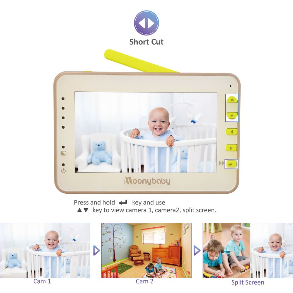 Video Baby Monitor 2 Cameras, Split Screen by Moonybaby, Pan Tilt Camera, 170 Degree Wide View Lens Included, 4.3 inches Large Monitor, Night Vision, Temperature, 2 Way Talk Back, Long Range by moonybaby (Image #9)