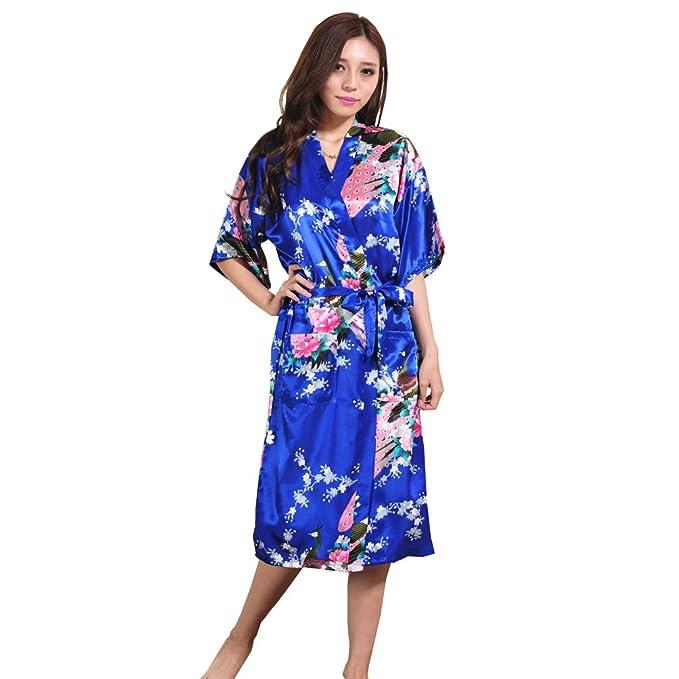 Kimono Mujer Vestido, Pijama Lencería Kimono largo pavo de satén y estampado floral para mujer
