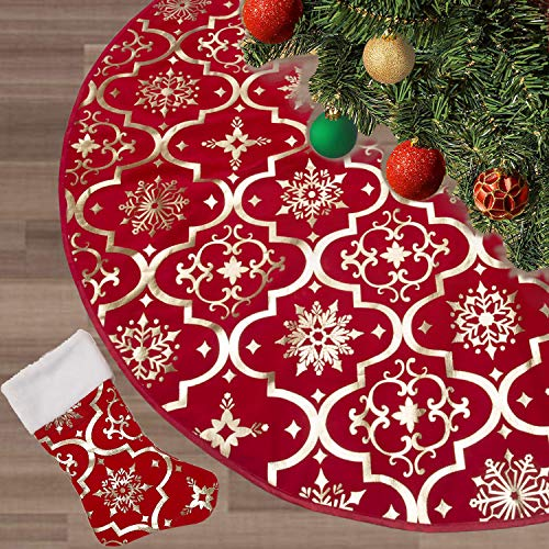 FLASH WORLD Christmas Tree Skirt,48 inches Large Xmas Tree Skirts with Snowy Pattern for Christmas Tree Decorations (Red) (Tree Pattern Christmas Knit Skirt)