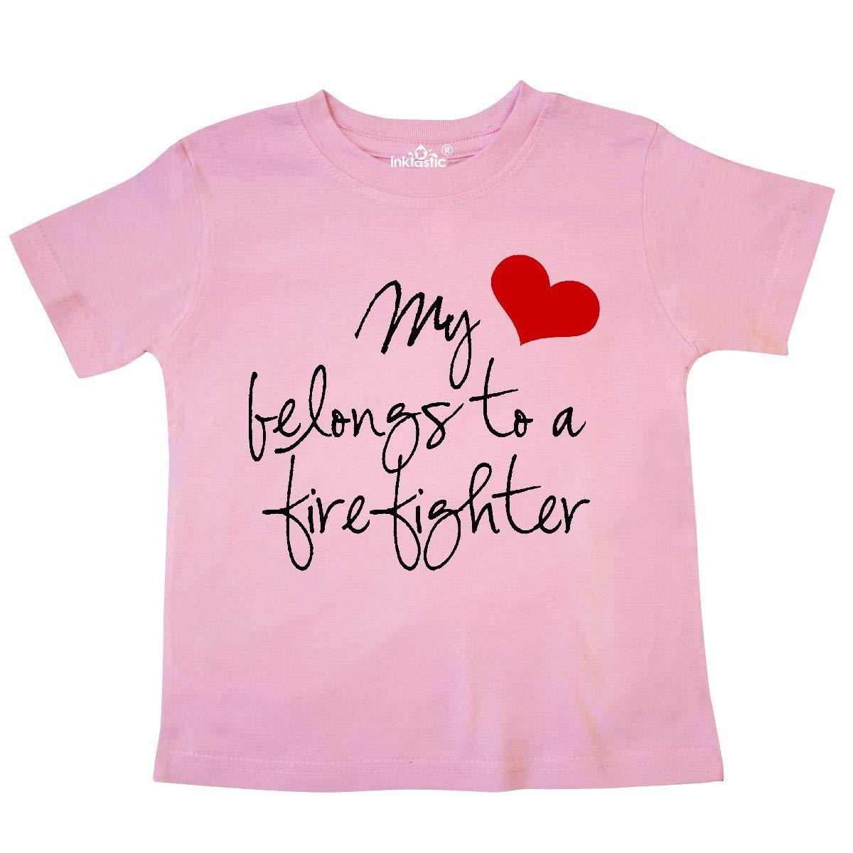 inktastic My Heart Belongs Firefighter Toddler T-Shirt