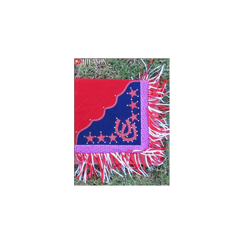 Blanket Red Body Glittering Pink Border Horse Shoes & Star Design Red & White Fringes