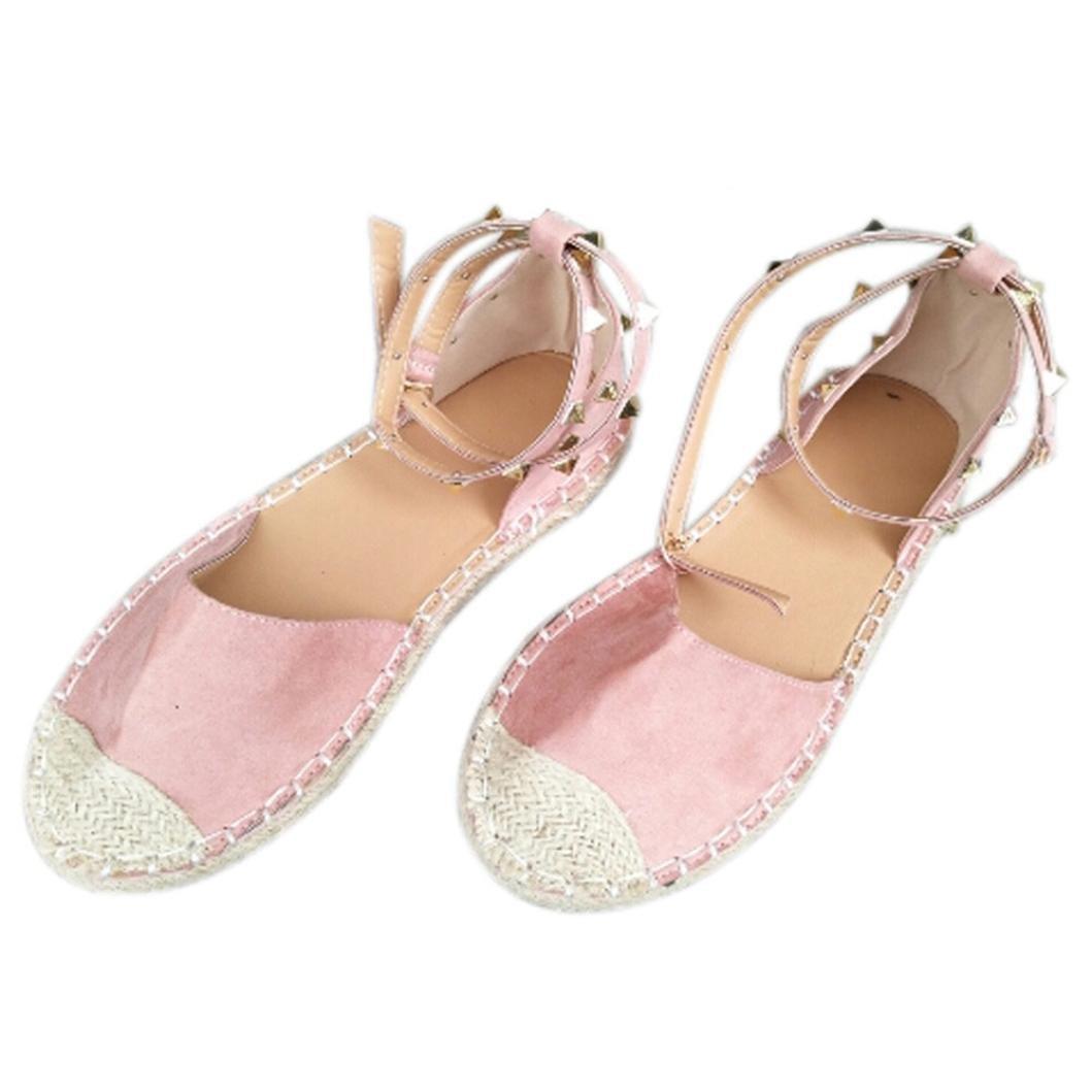 Mode Dame Schuhe, Frauen Runde Flache Freizeitschuhe Niet Dekorative Bandage Sandalen  36 EU|Rosa