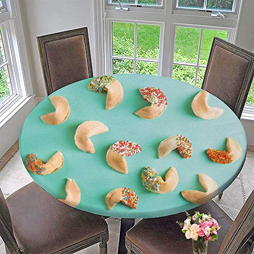 PINAFORE HOME Picnic Circle Table Cloths Fortune Cookies on Color Background for Family Dinners or Gatherings 40