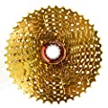 ZTTO 11 Speed Cassette 11-42T Compatible Road Bike Shimano Sram System High Tensile Steel Sprockets Folding Gold Gear - Gold