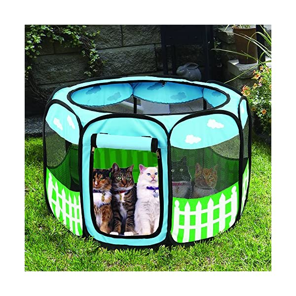 (Small) – Pet Puppy Dog Playpen Exercise Pen Kennel Tent Play Pen Foldable Indoor Outdoor Click on image for further info. 6