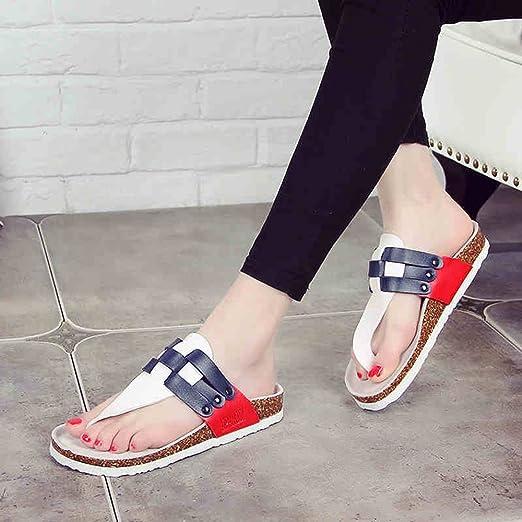Zapatillas HAIZHEN zapatos de mujer Corcho De Los Pares Zapatos Femeninos De La Playa Del Verano Frescas Que Tejen 2 Colores Para mujeres (Color : 1001, Tamaño : EU39/UK6/CN39)