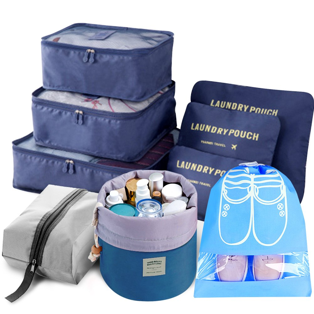 9pcs Travel Organizer Light Packing Cubes Include Waterproof Shoe Organizer Toiletry Organizer Large Medium Small Laundry Compression Pouches, Blue by Amazon