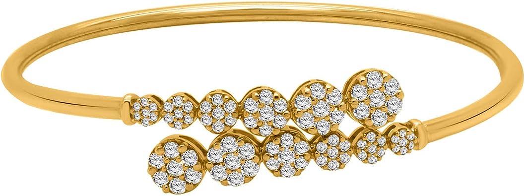 3.00 Ct IGI-Certified 10K Solid Gold Round Cut Natural Diamond Cuff Bangle Bracelet