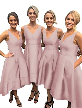 Harsuccting V-Neck High-Low Satin Ball Gown Bridesmaid Dresses with Pocket Blush Pink