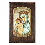 Mater Ecclesiae Mosaic Wooden Rosary Keepsake Box 4 x 6 inches Mother of the Church