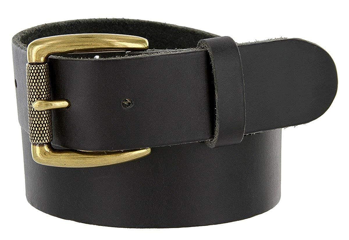 Pele Belt Men 1-1//2 Wide Brown Full Leather Raw Edges Metal Roller Buckle