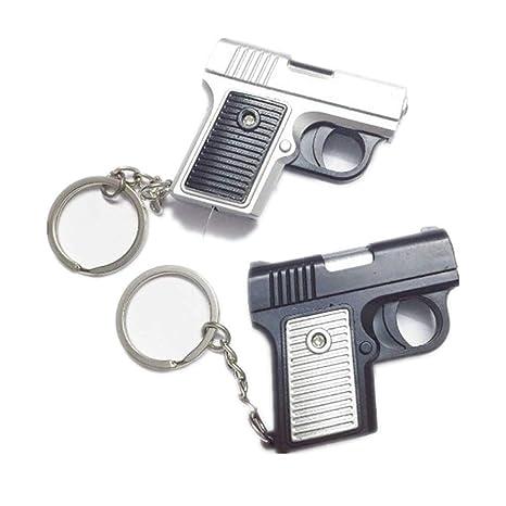Amazon.com: ABS Gun forma de llavero con LED y voz (Color al ...