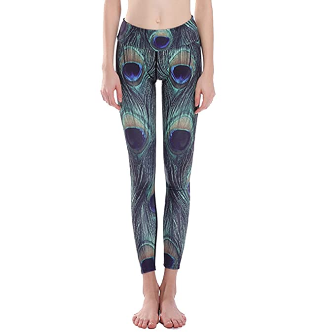 171fca4685b721 XNRHH Women's Peacock Feathers Printed Leggings Yoga Pants Active Workout  Leggings Stretch Tights Running Sport Pants: Amazon.co.uk: Clothing