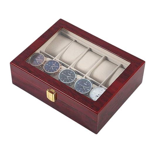 FDFRGG 10 Rejillas Retro Caja De Exhibición De Reloj De ...