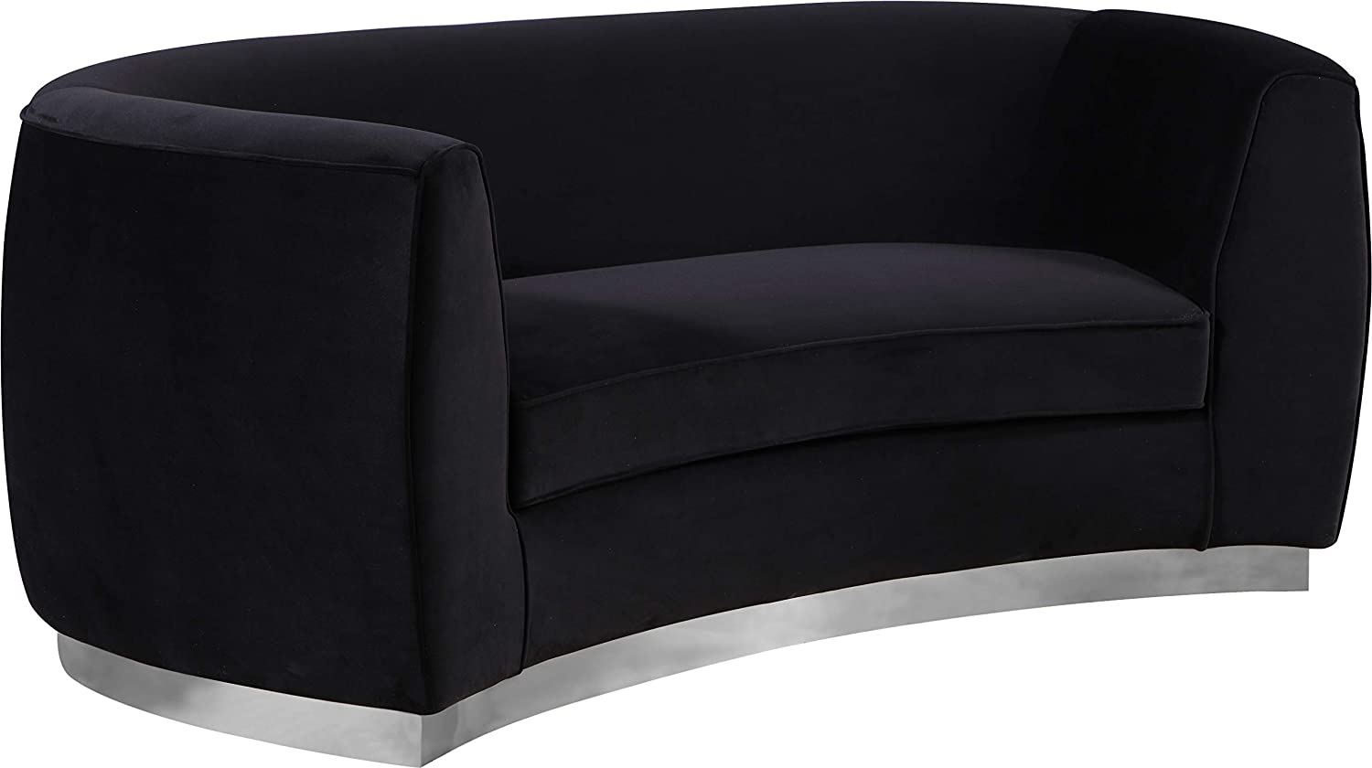 Meridian Furniture Julian Collection Modern   Contemporary Velvet Upholstered Loveseat with Stainless Steel Base in Polished Chrome Finish, Black, 70