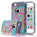 iPhone 5C Case,iphone5C Case,Kmall(TM) for iPhone 5C 2in1 High Impact Hybrid Dual Layer Case Heavy Duty Case Full-Body Matte Rugged Armor Cover Case with Totem Tribe Floral Pattern (Gray)