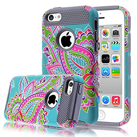 iPhone 5C Case,iphone5C Case,Kmall(TM) for iPhone 5C 2in1 High Impact Hybrid Dual Layer Case Heavy Duty Case Full-body Matte Rugged Armor Cover Case with Totem Tribe Floral Pattern (I Phone 5c Cell Phone)