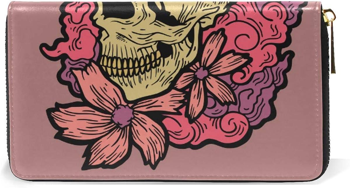 Art Flower Skull Tatto Leather Womens Zipper Wallets Clutch Coin Case