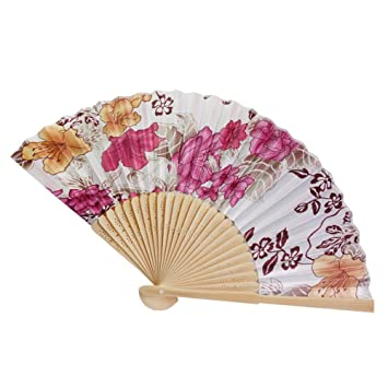 Ventilador chino de bambú flor abanico plegable Vintage de ...
