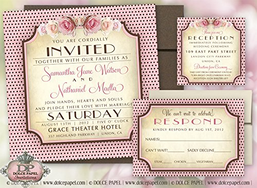 10 Peachy Pink and Brown French Rose Polka Dot Square Wedding Invitations Set 6x6