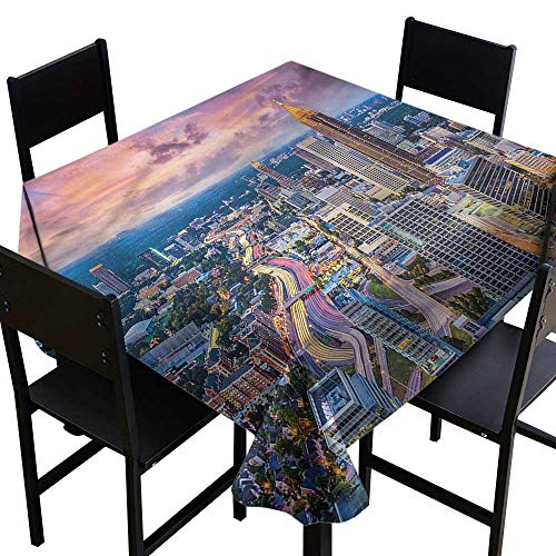 Modern Spillproof Tablecloth Atlanta City Georgia Town Party Decorations Table Cover Cloth 70 x 70 Inch -
