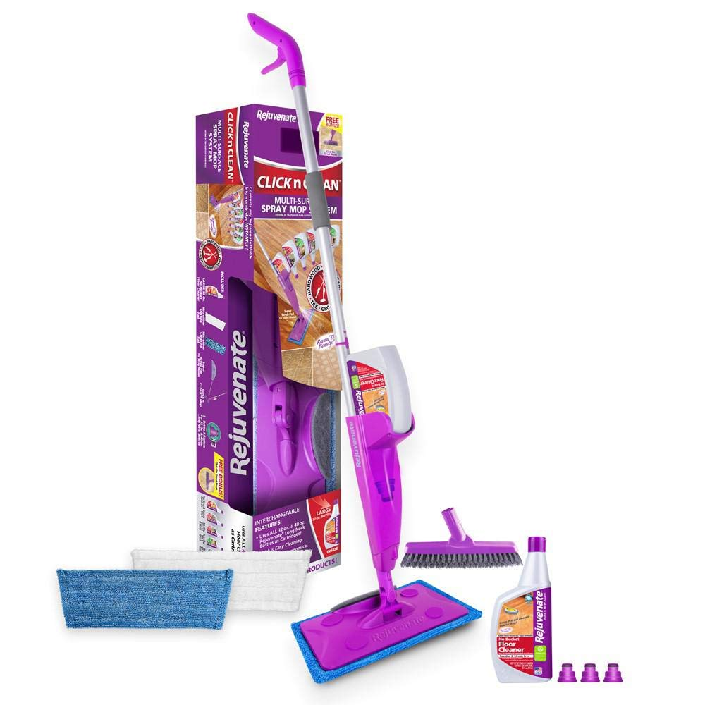 Click 'N Clean Multi-Surface Microfiber Spray Mop Including All Floors Restorer, Shine Refresher, Shine It Floor Polish