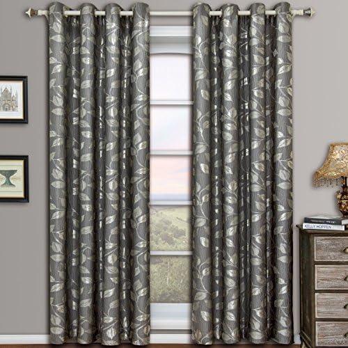 Charlotte Gray Grommet Jacquard Window Curtain Panels