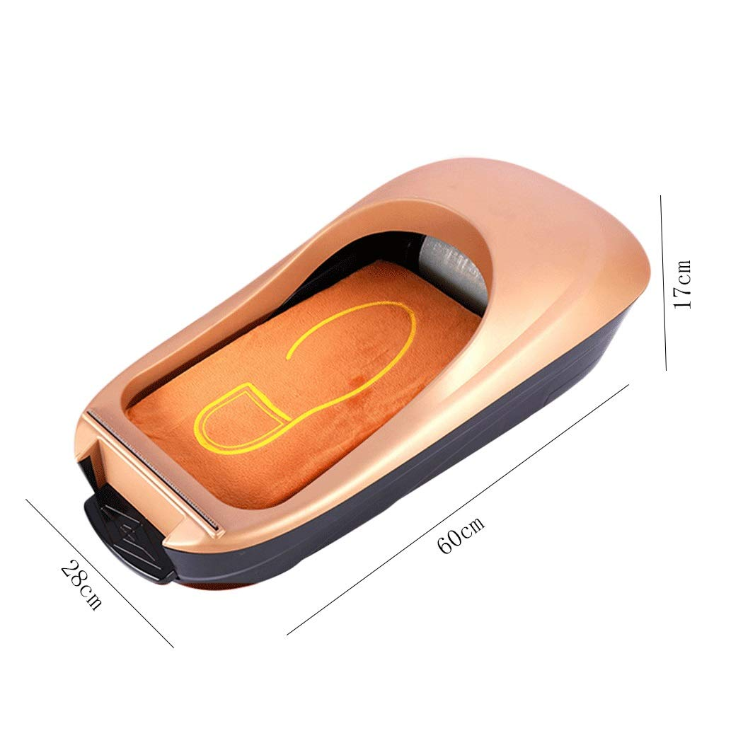 Image #2: Yongyong Golden Piano Paint Simple Wind Automatic Shoe Cover Machine Disposable Home Shoe Machine Office Foot Cover Machine Cover Shoe Machine (Including 600 Shoe Film) 60 28 17cm (Color : Gold) by Yongyong