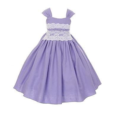 15a050da27 Amazon.com  Big Girls Lilac Linen Lace Waistline Flower Girl Easter ...