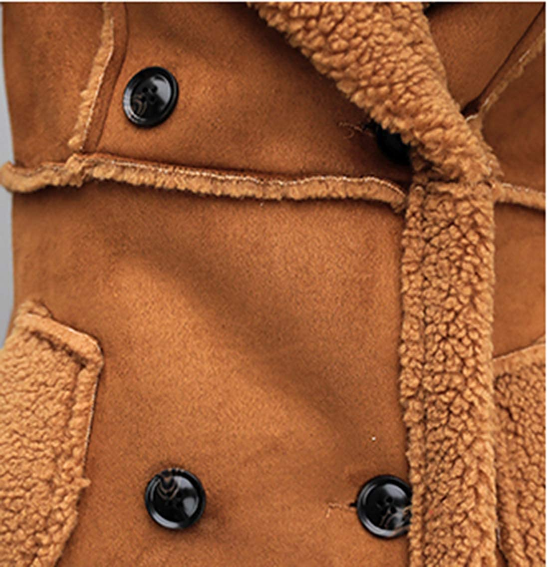 899d59dbf920 Lentta Women s Thick Double Breasted Long Suede Shearling Sherpa Lined  Winter Coat at Amazon Women s Coats Shop