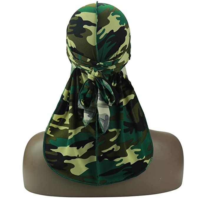 3//4 Packed Military Camouflage Premium Silky Durags with Long Tail Colorful 360 Waves Doo rag for Men Du rag Cap