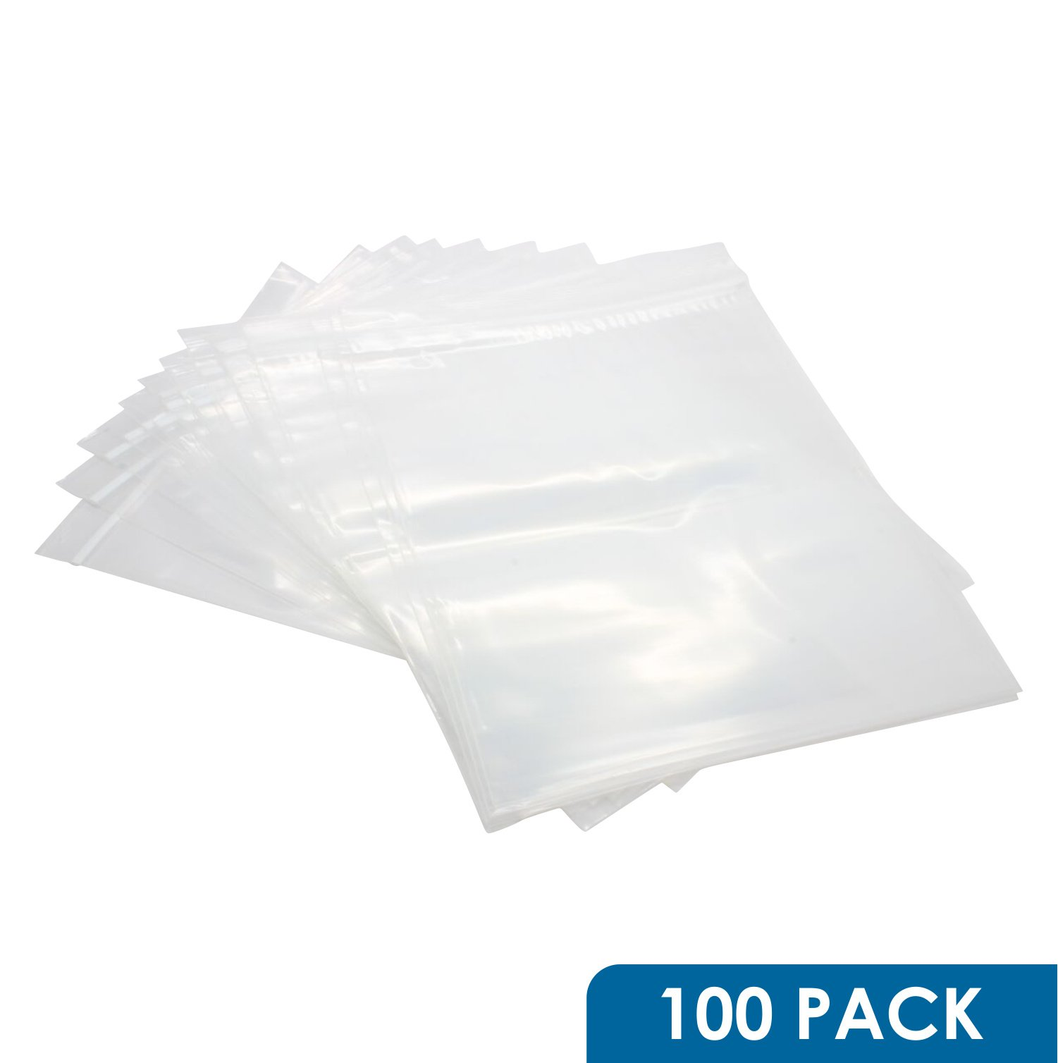 Rok Hardware Pack of 100 Heavy Duty 10'' x 13'' Resealable 4Mil Thick Plastic Big Clear Poly Zip Lock Food Safe Storage Bags
