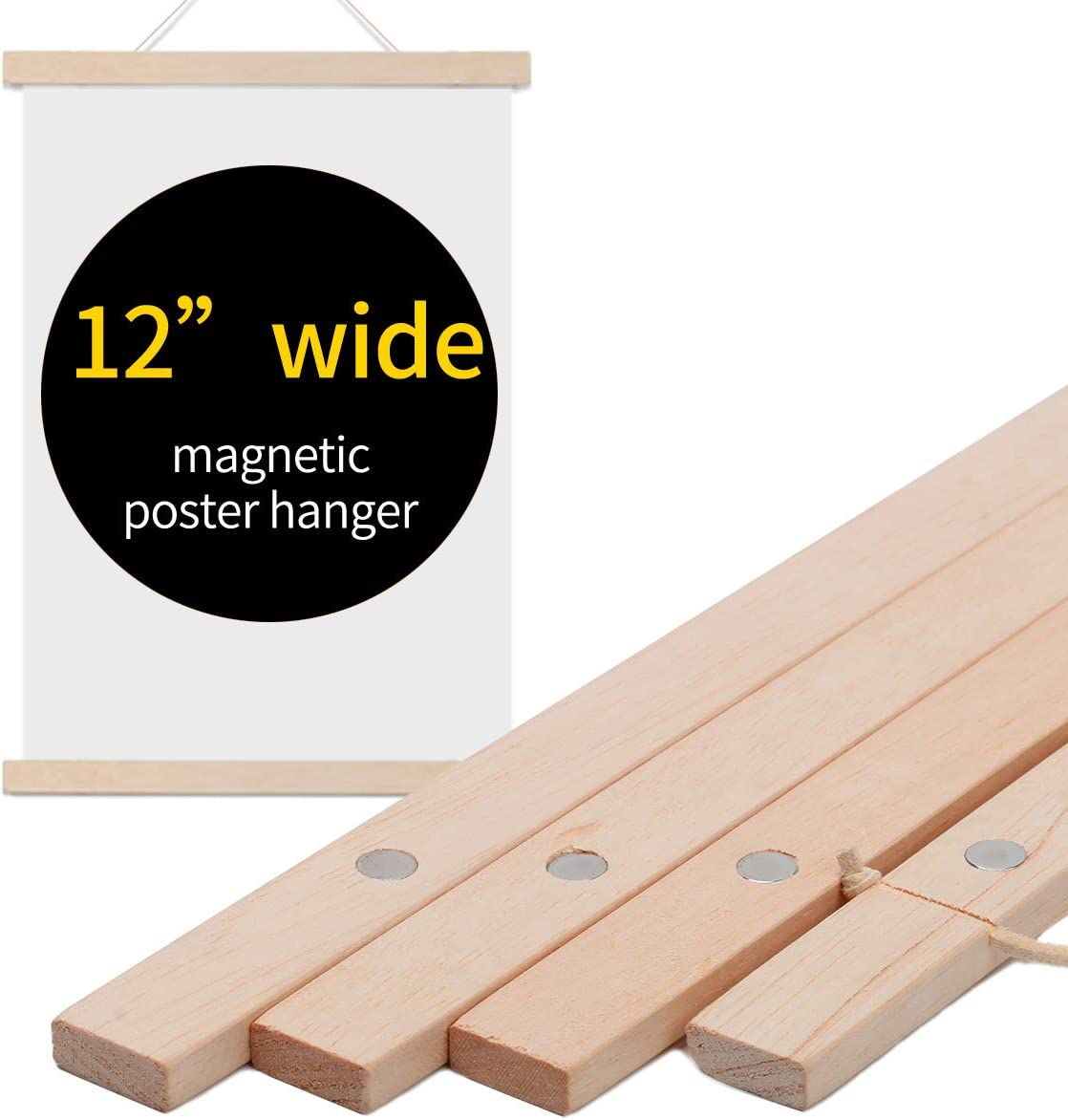 """WIWAPLEX Magnetic Poster Frame Hanger, 12"""" Wide Wooden Magnet Frames Hanger for Canvas Artwork Art Print Paper Map Family Kid Photo Picture Wall Hanging (12 Inch)"""