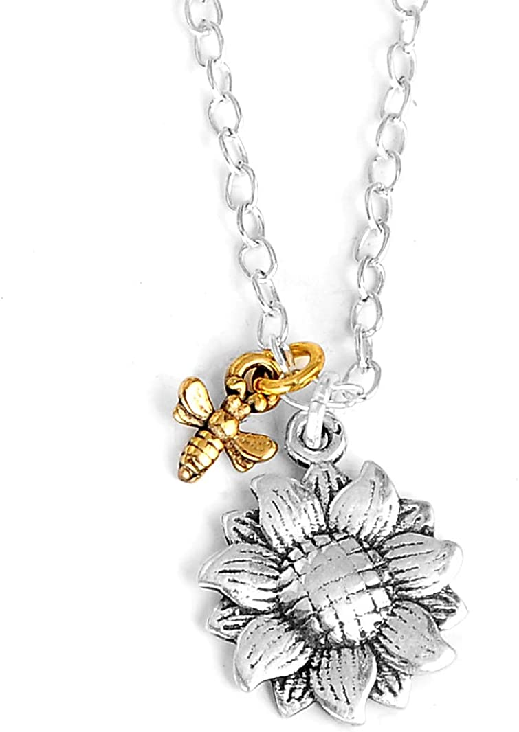 Sunflower and Bee Necklace 925 Sterling Silver Necklace for Women Girl Girlfriend Wife Nature Pendant