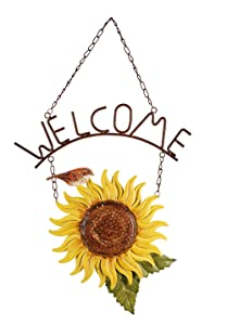 Sunset Vista Design Studios Birds of a Feather Hanging Metal Welcome Sign, Sunflower