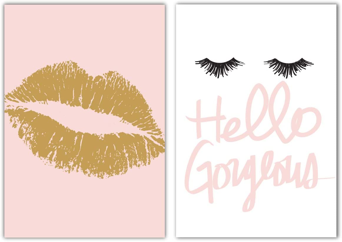 Designs by Maria Inc. Set of 2 Fashionista Prints (Unframed) Lips & Lashes Wall Art Makeup Bathroom Decor (11x17) (Option 3)