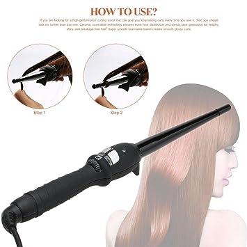 TOOGOO 25 mm Rotatorio conico Rizador de Ceramica de pelo de estilo de pera rizada Herramientas de peinado natural de Enchufe de la UE: Amazon.es: Salud y ...