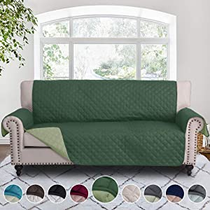 RHF Reversible Sofa Cover, Couch Covers for 3 Cushion Couch, Couch Covers for Sofa, Couch Cover, Sofa Covers for Living Room,Couch Covers for Dogs, Sofa Slipcover(Sofa: Huntergreen/Sage)